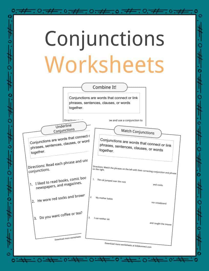 Combining Sentences Worksheets 5th Grade Conjunctions Examples Definition & Worksheets for Kids