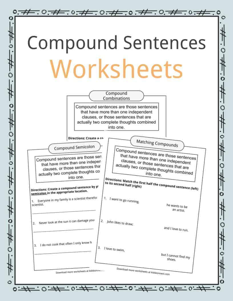 Combining Sentences Worksheets 5th Grade Pound Sentences Worksheets Examples & Definition for Kids