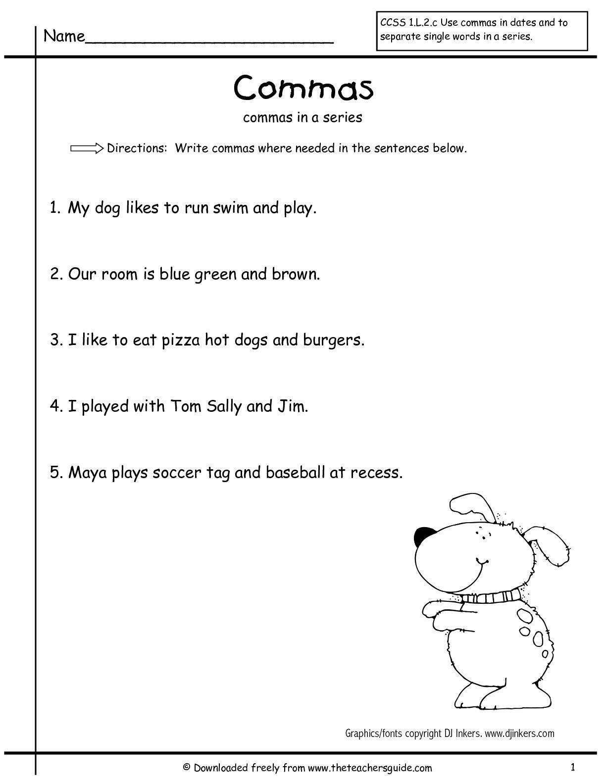 Comma Worksheets Middle School Mas In A Series