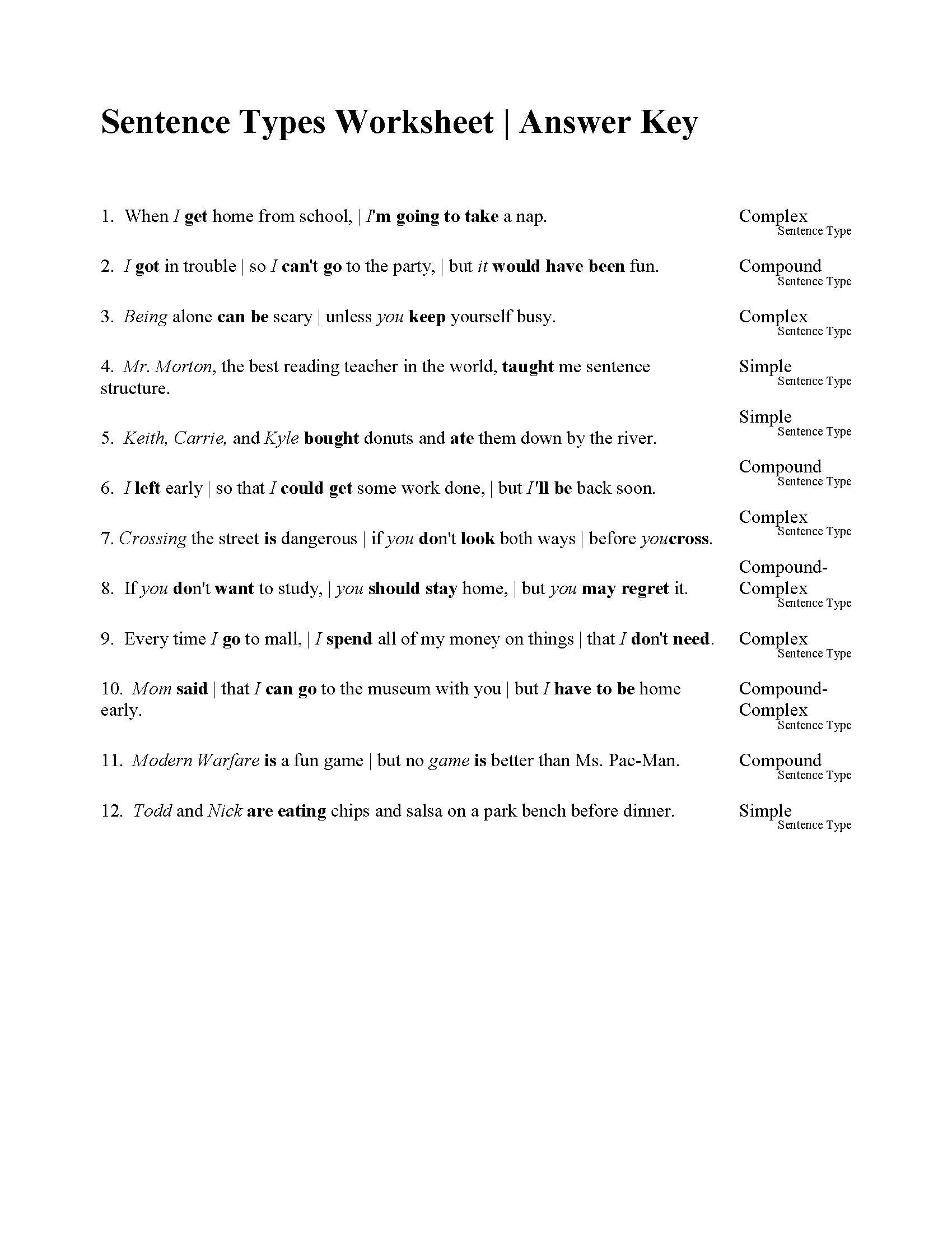 Complete Sentence Worksheet 3rd Grade Sentences Types Worksheet Answers Sentence Exercises