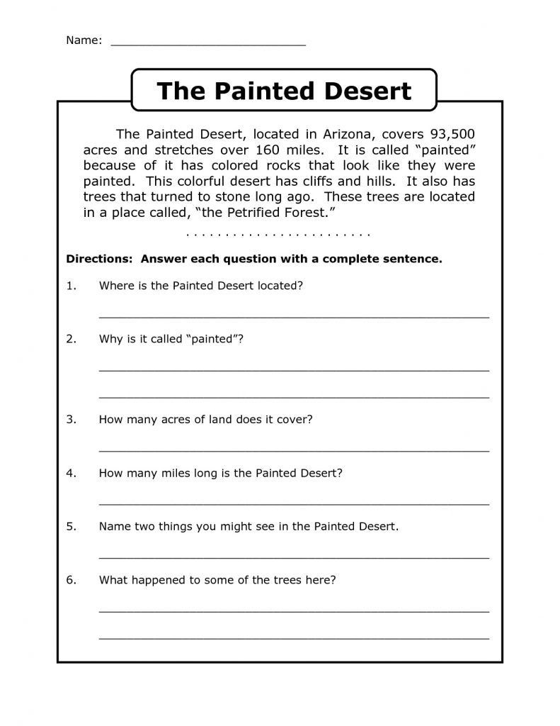 Complete Sentence Worksheet 3rd Grade Worksheet Worksheet Ideas Splendi Free Third Grade Reading