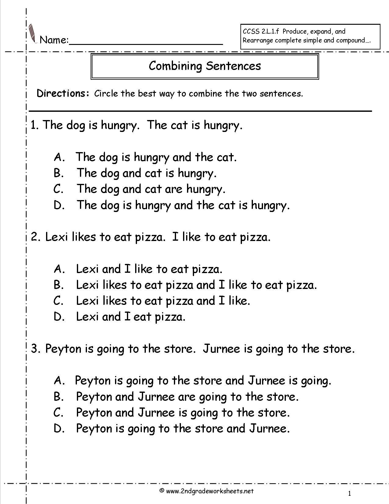 Complete Sentence Worksheets 1st Grade Bining Sentences Worksheet