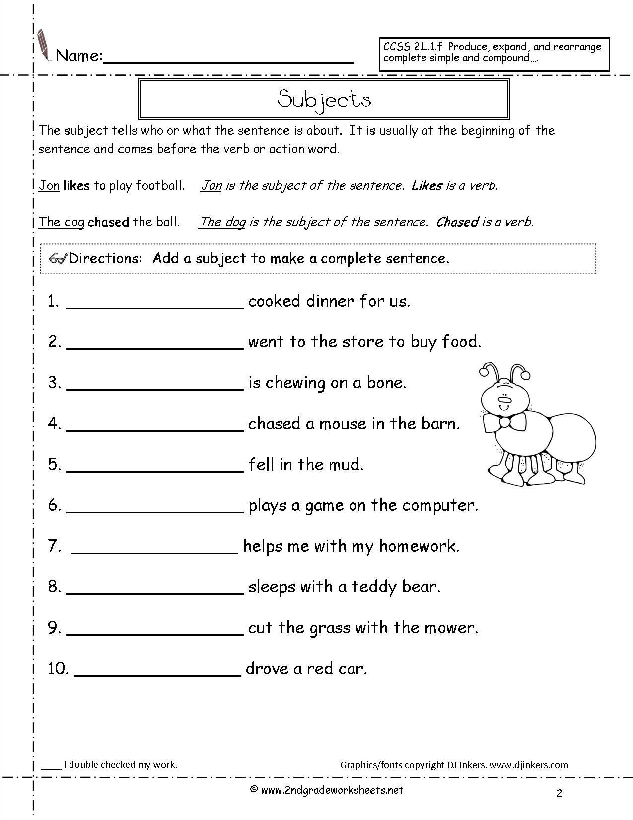 Complete Sentence Worksheets 1st Grade Sentence Worksheets for First Grade Second Grade Sentences