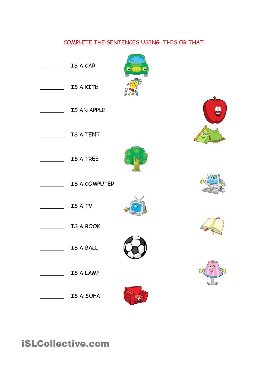 Complete Sentence Worksheets 1st Grade This that Worksheet