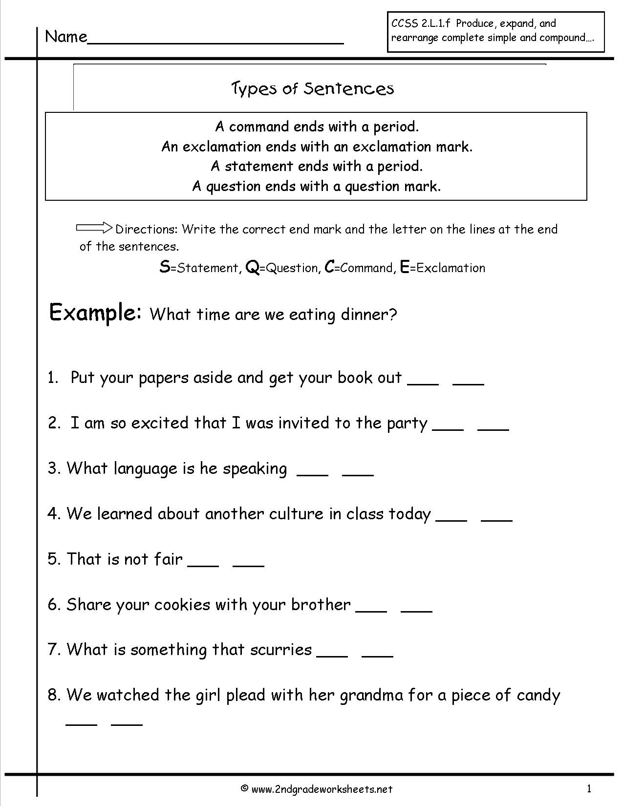 Complete Sentence Worksheets 4th Grade Second Grade Sentences Worksheets Ccss 4th Sentence