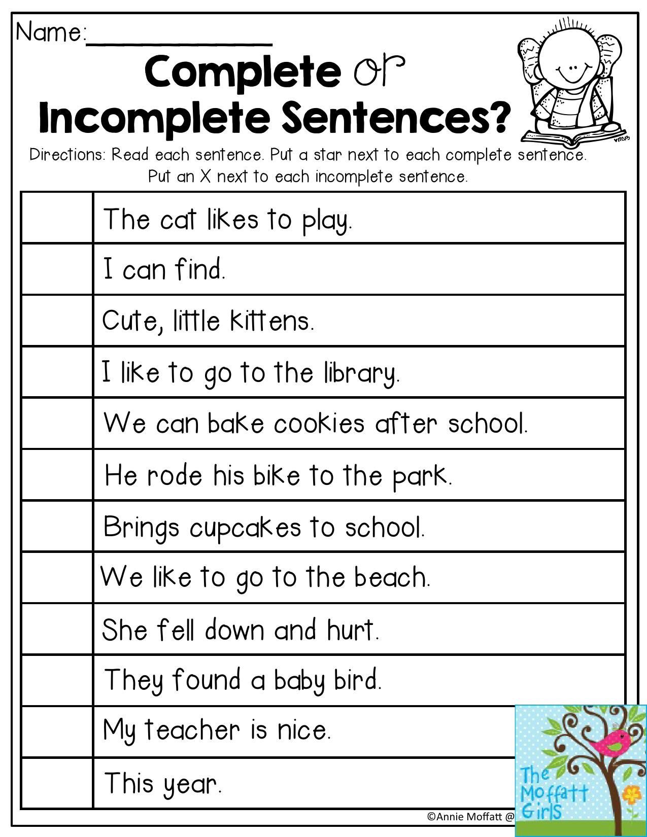 Complete Sentences Worksheets 1st Grade Plete or In Plete Sentences Read Each Sentence and