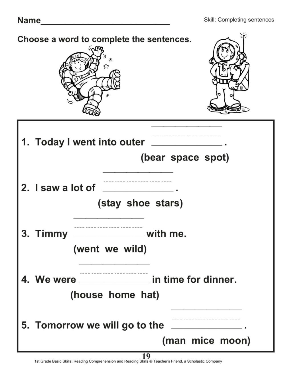 Complete Sentences Worksheets 1st Grade Worksheet Reading Prehension 1st Grade Printable