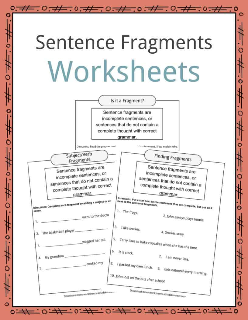 Complete Sentences Worksheets 2nd Grade Sentence Fragments Worksheets Examples & Definition for Kids