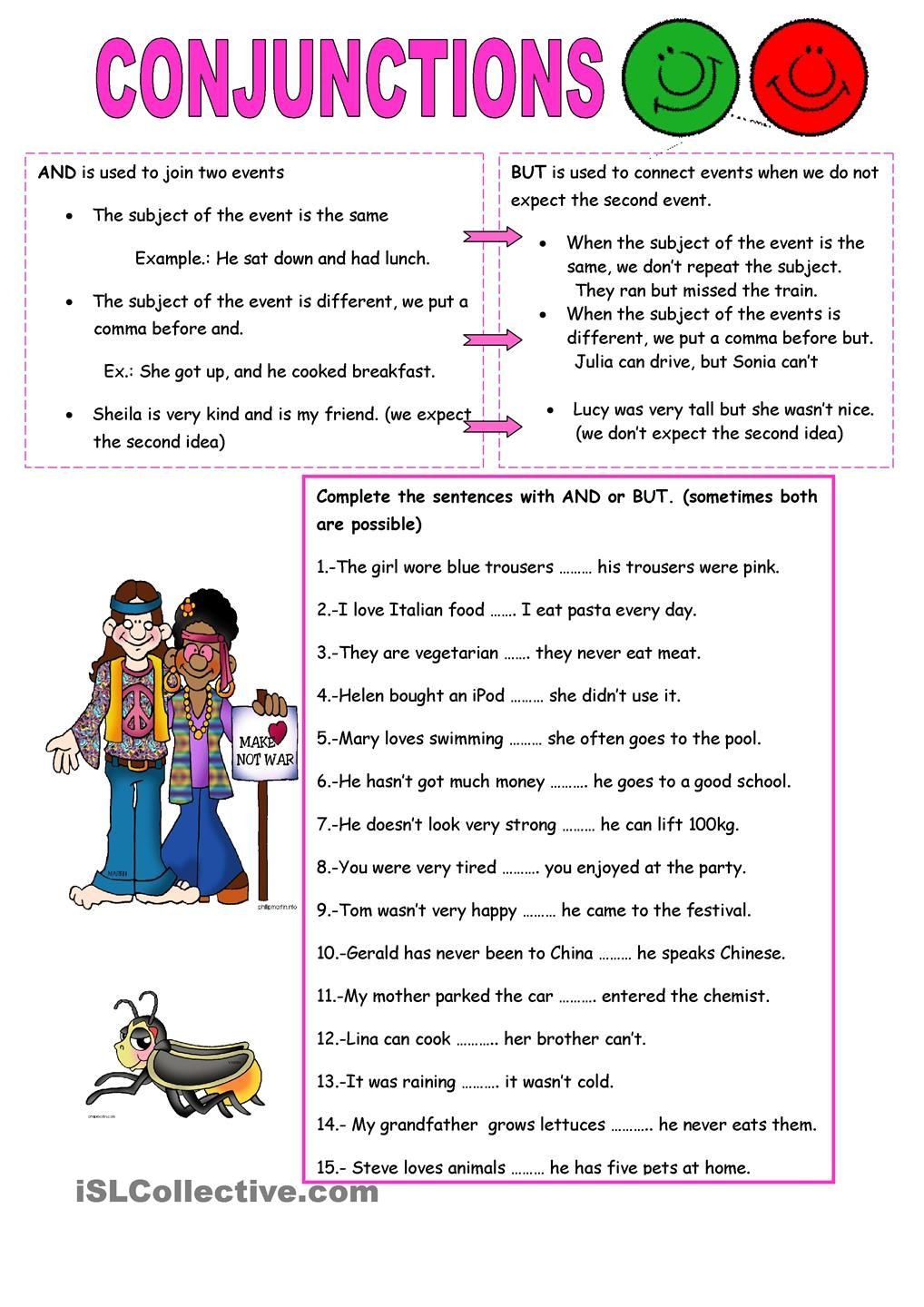 Conjunction Worksheets for Grade 3 Conjunctions and but