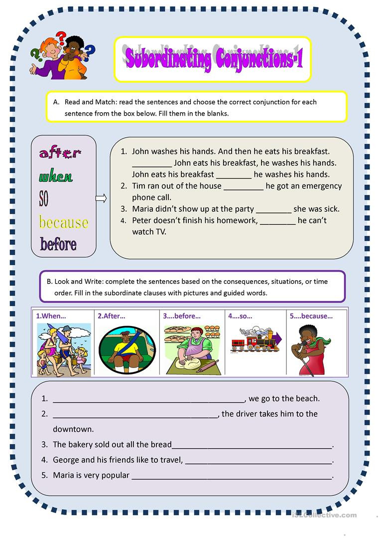 Conjunction Worksheets for Grade 3 Subordinate Conjunctions 1 English Esl Worksheets for