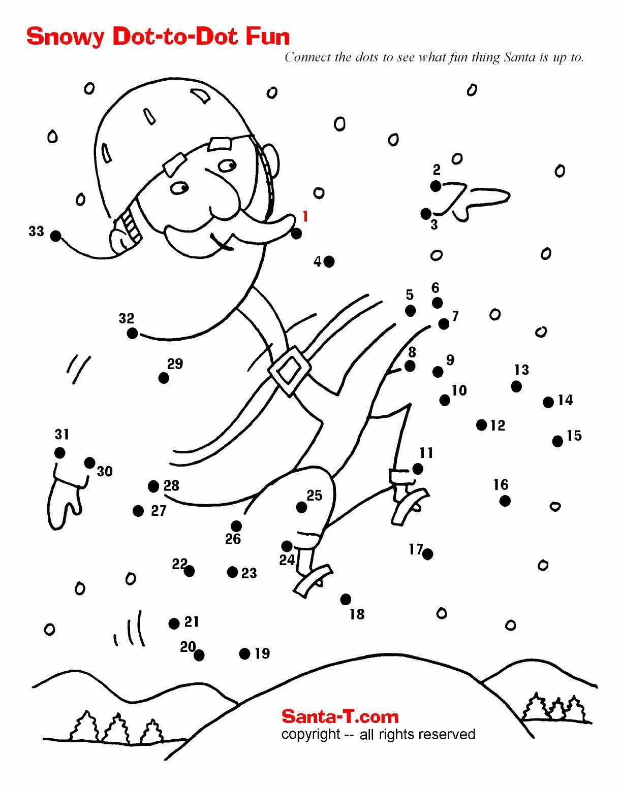 Connect the Dots Christmas Printables Snowboarding Santa Dot to Dot