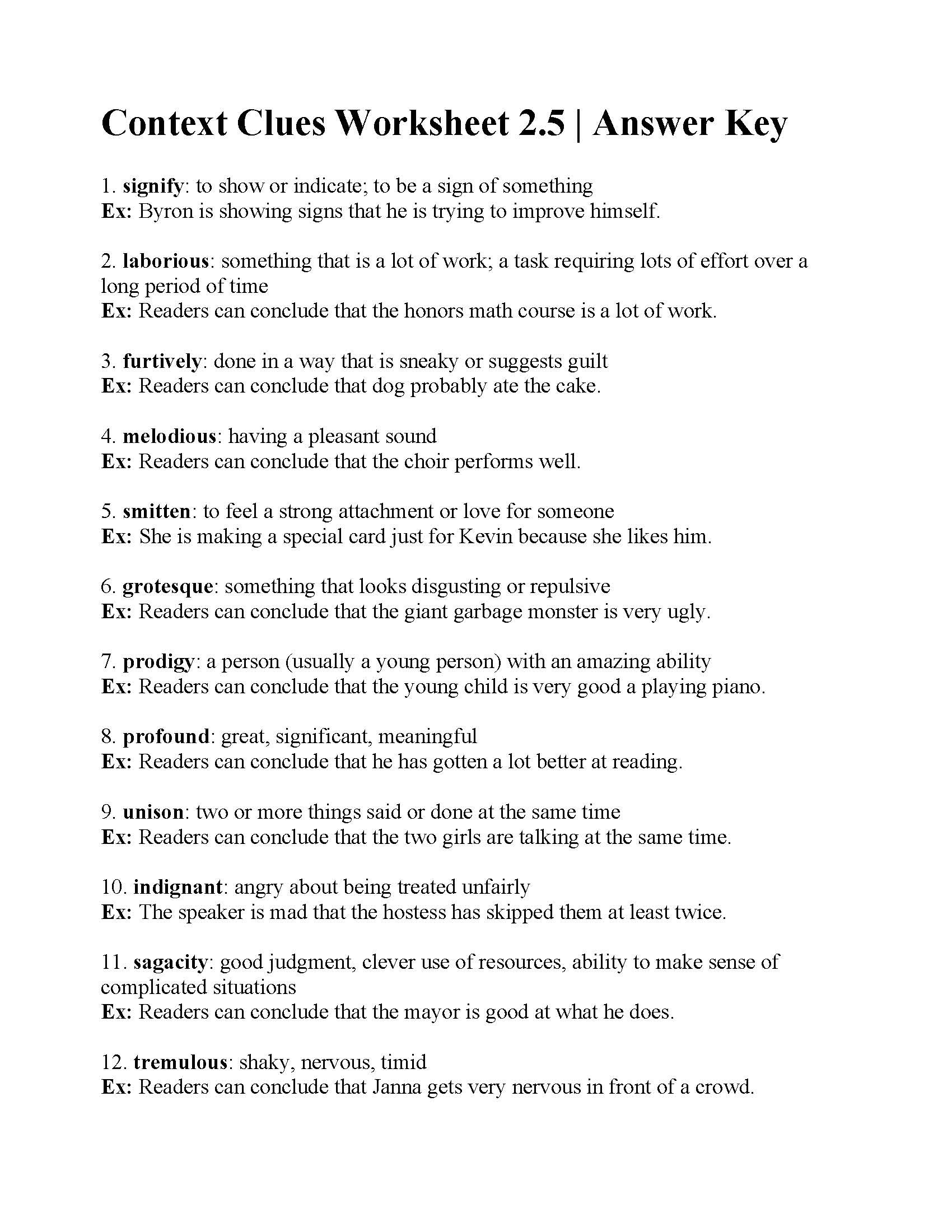 Context Clues Worksheets Grade 5 Context Clues Worksheet Answers Worksheets with Algebra Ks3