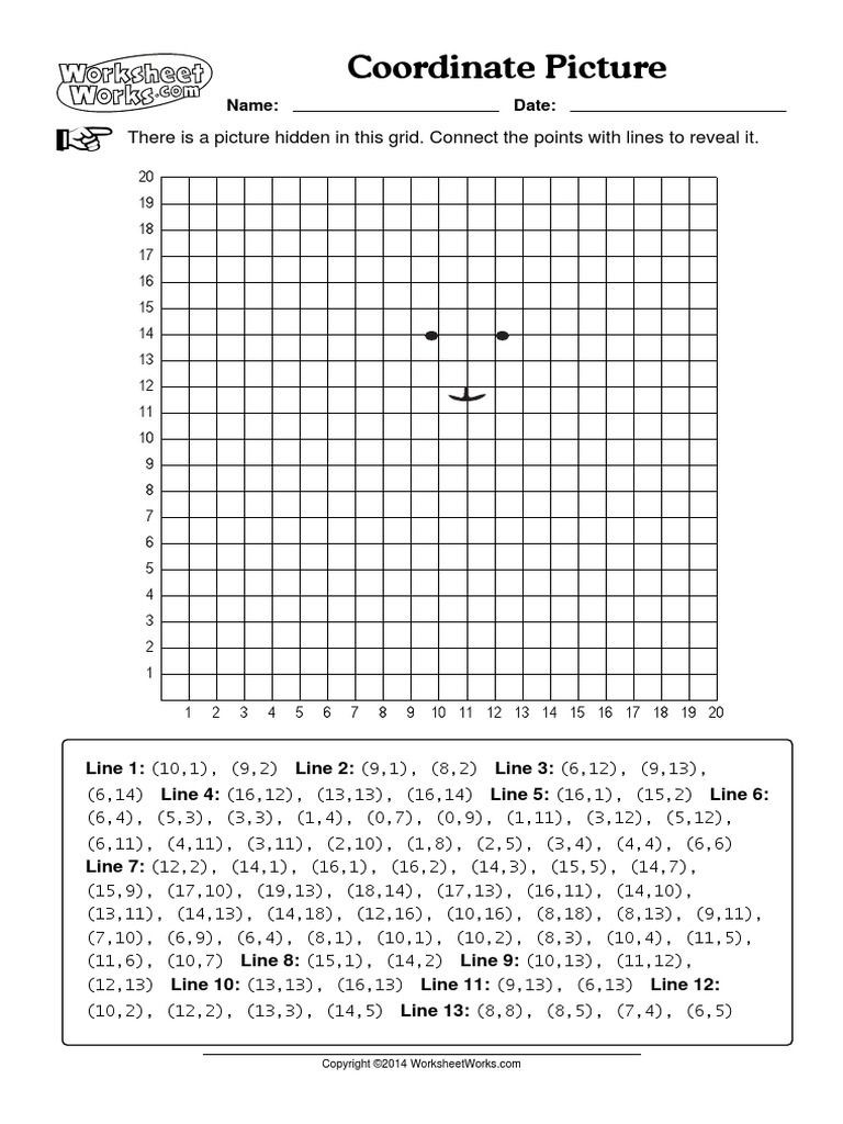 Coordinate Plane Worksheets Middle School Coordinate Picture Worksheets Works