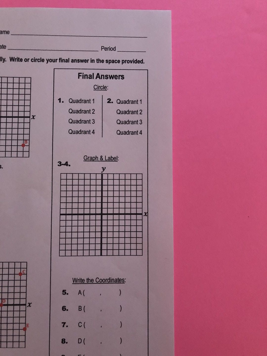 Coordinate Plane Worksheets Middle School Coordinate Plane Quiz
