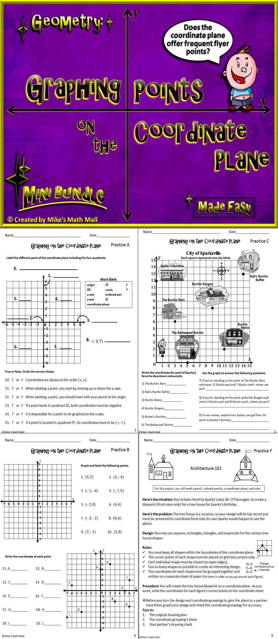 Coordinate Plane Worksheets Middle School Graph Points On the Coordinate Plane Mini Bundle