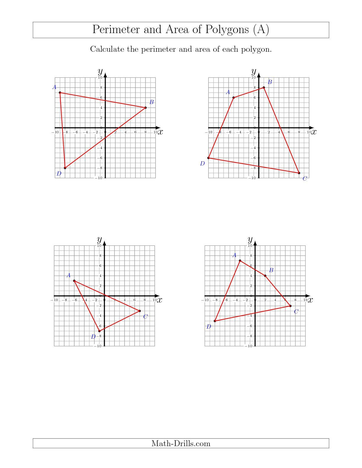 Coordinate Plane Worksheets Middle School Perimeter and area Of Polygons On Coordinate Planes A