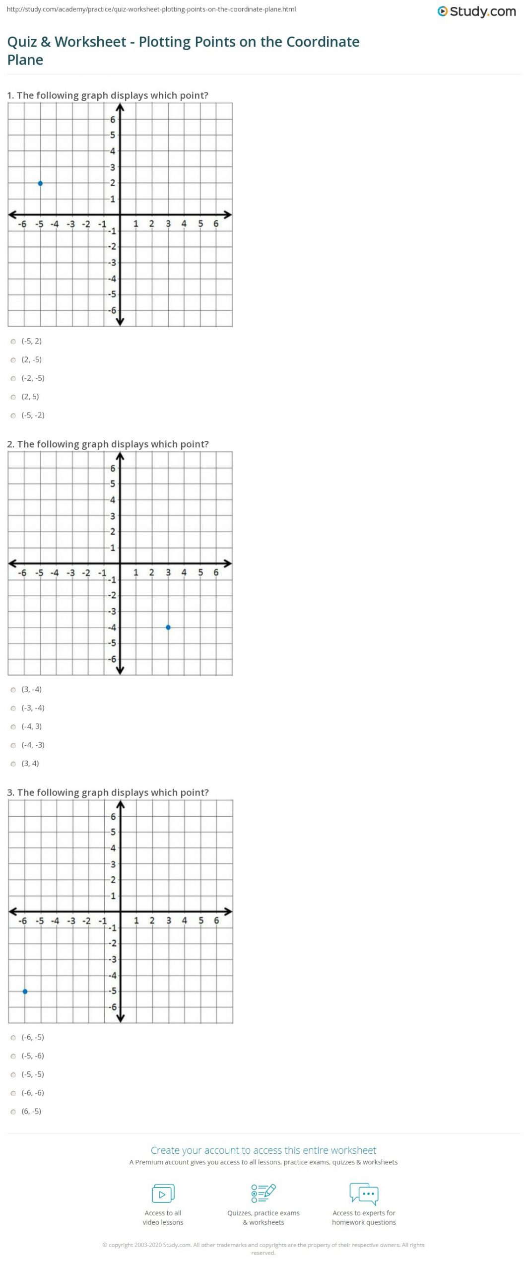 Coordinate Plane Worksheets Middle School Quiz & Worksheet Plotting Points On the Coordinate Plane