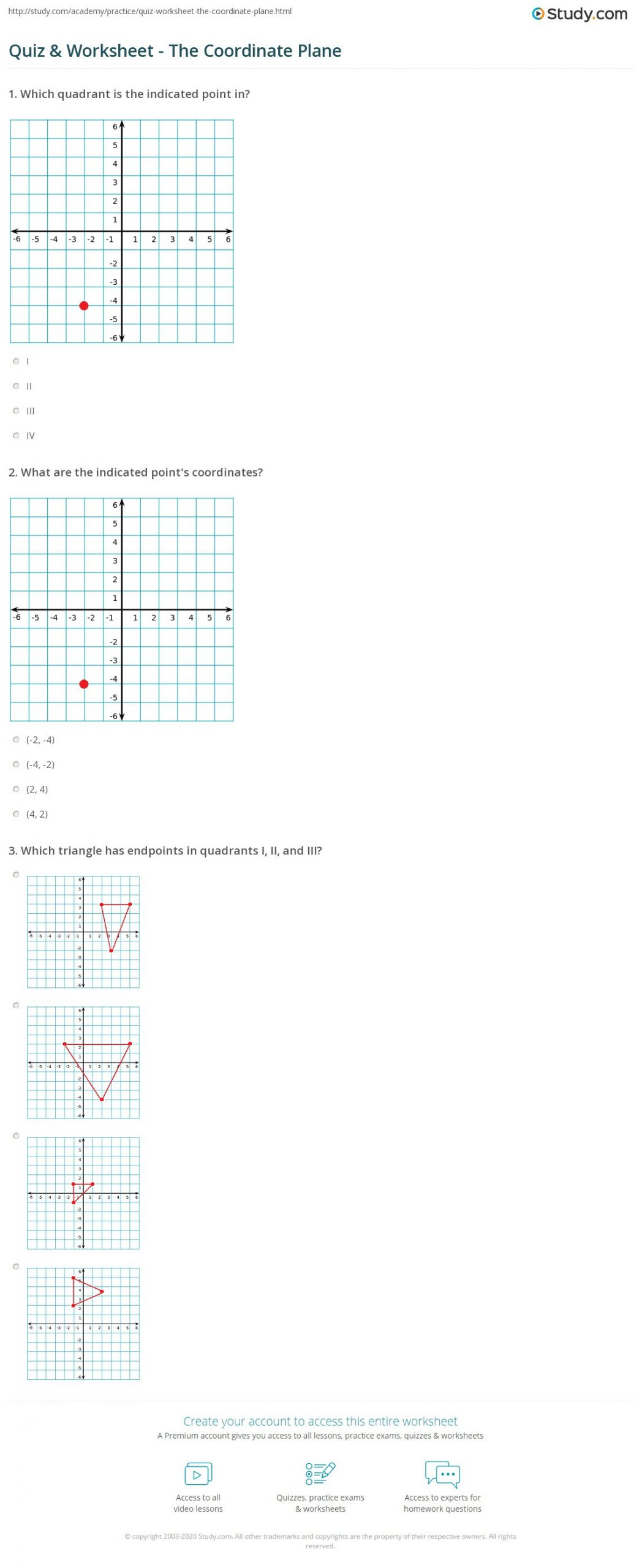 Coordinate Plane Worksheets Middle School Quiz & Worksheet the Coordinate Plane