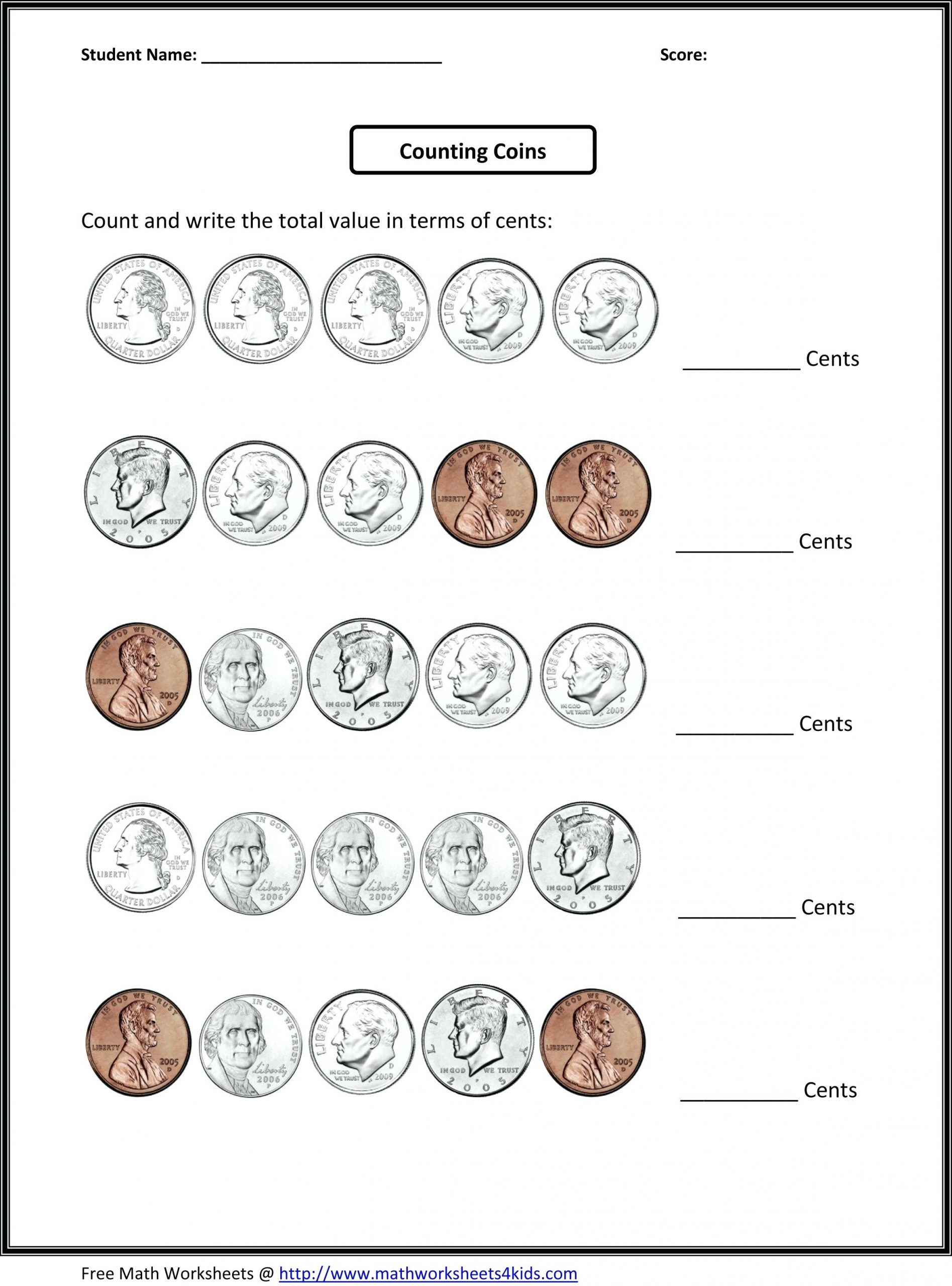 Counting Coins Worksheets 2nd Grade 66 Fun Money Worksheets to Print