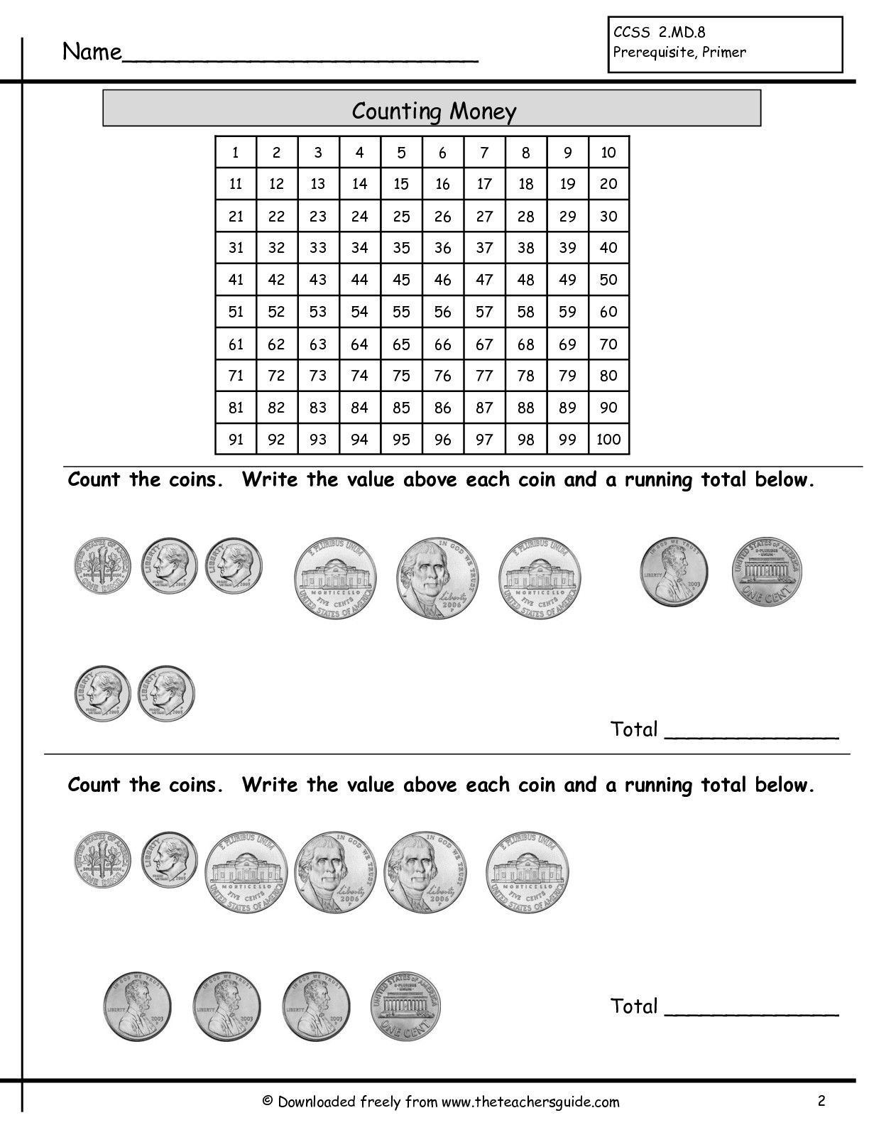 Counting Coins Worksheets 2nd Grade Counting Coins Worksheet