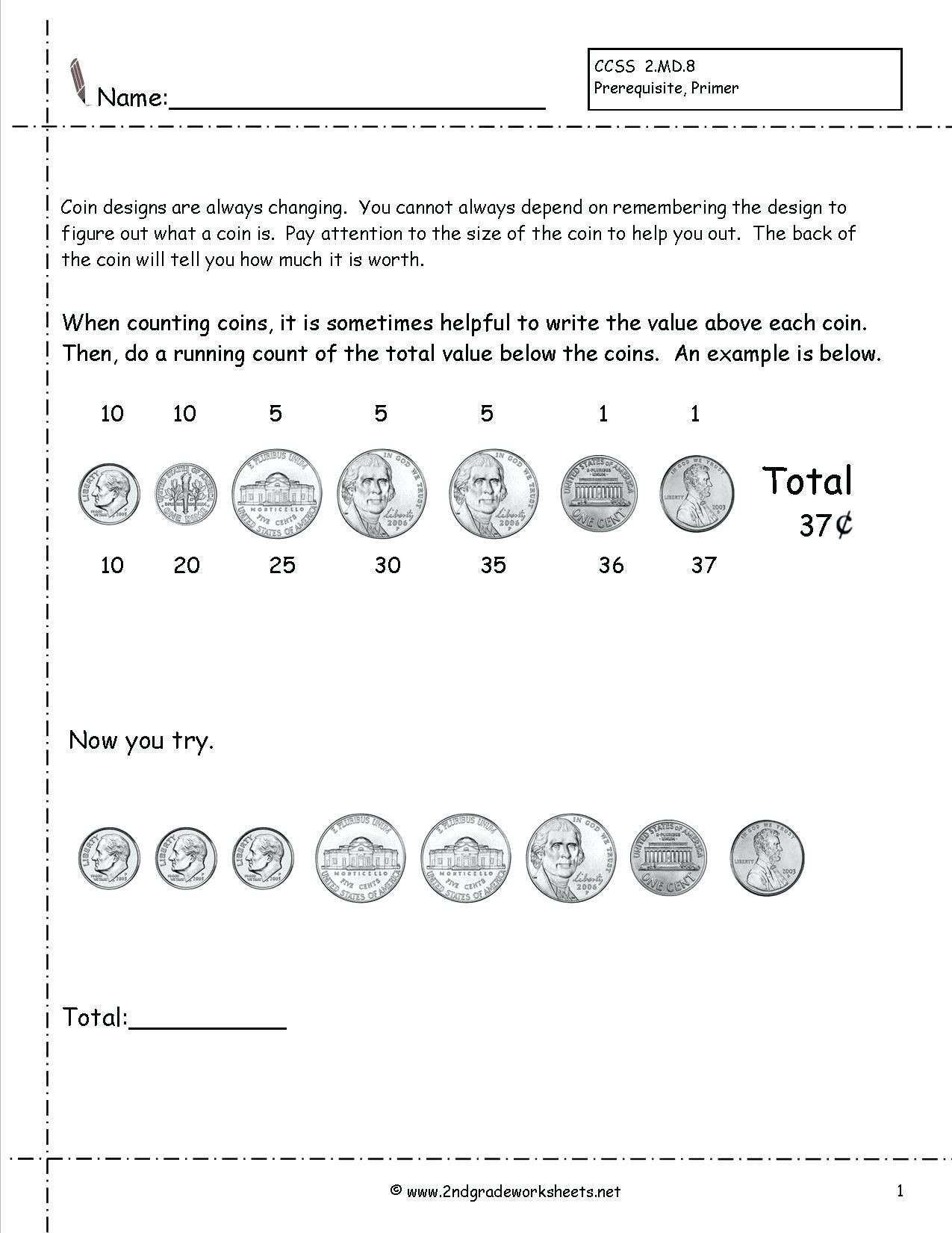 Counting Coins Worksheets First Grade 5 Free Math Worksheets First Grade 1 Counting Money Counting