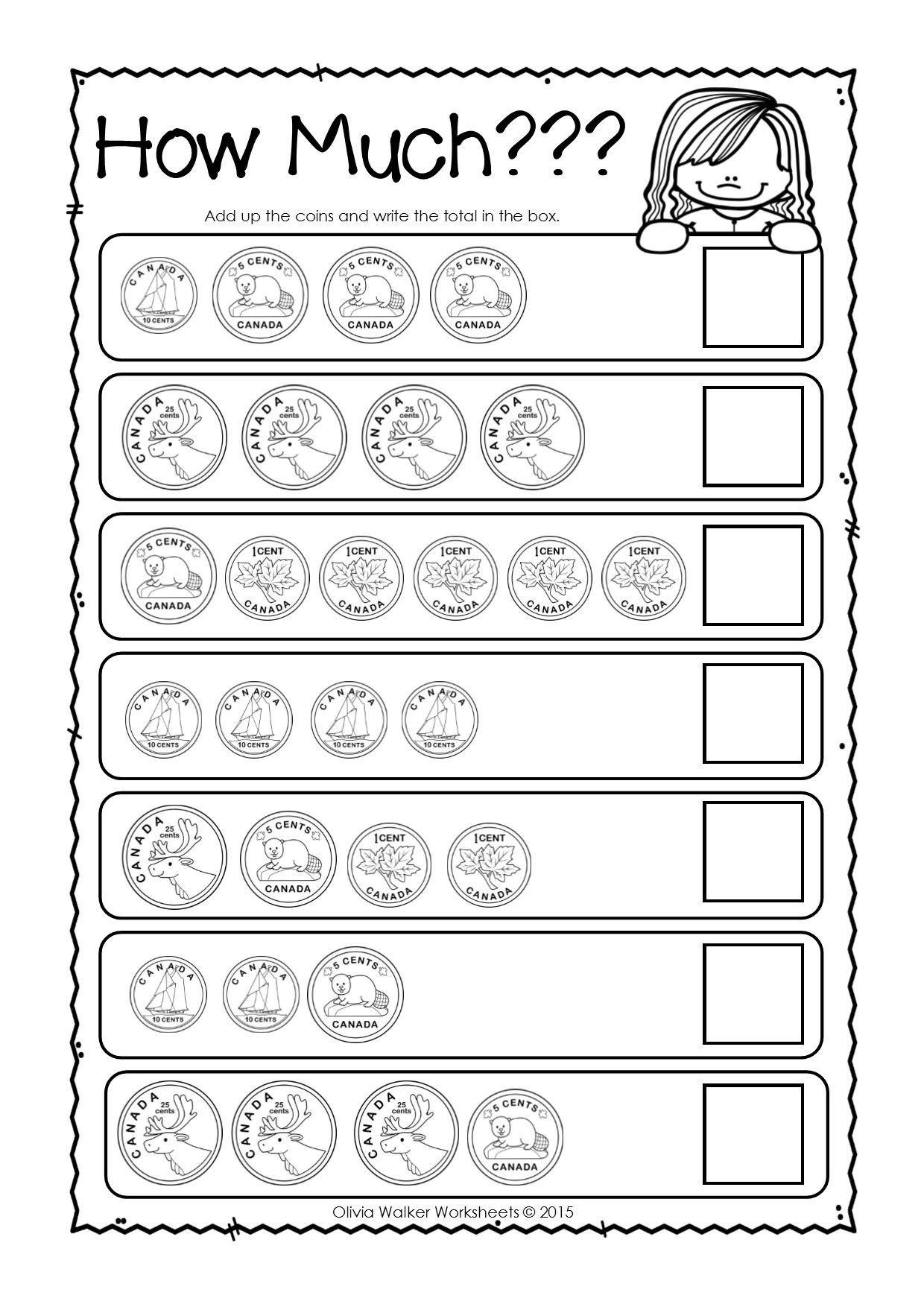 Counting Coins Worksheets First Grade Canadian Money Worksheets Printables