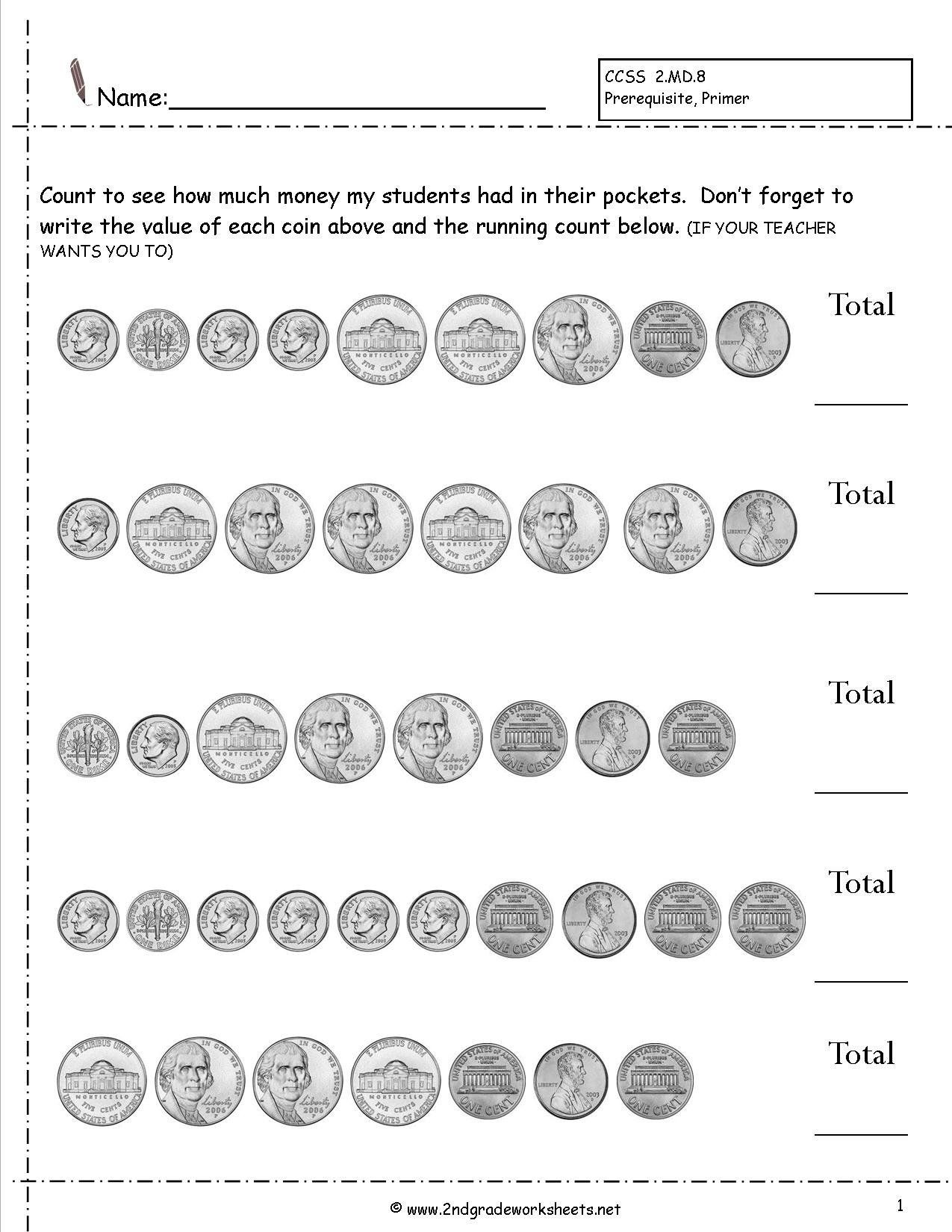 Counting Coins Worksheets First Grade Counting Coins Worksheets In 2020