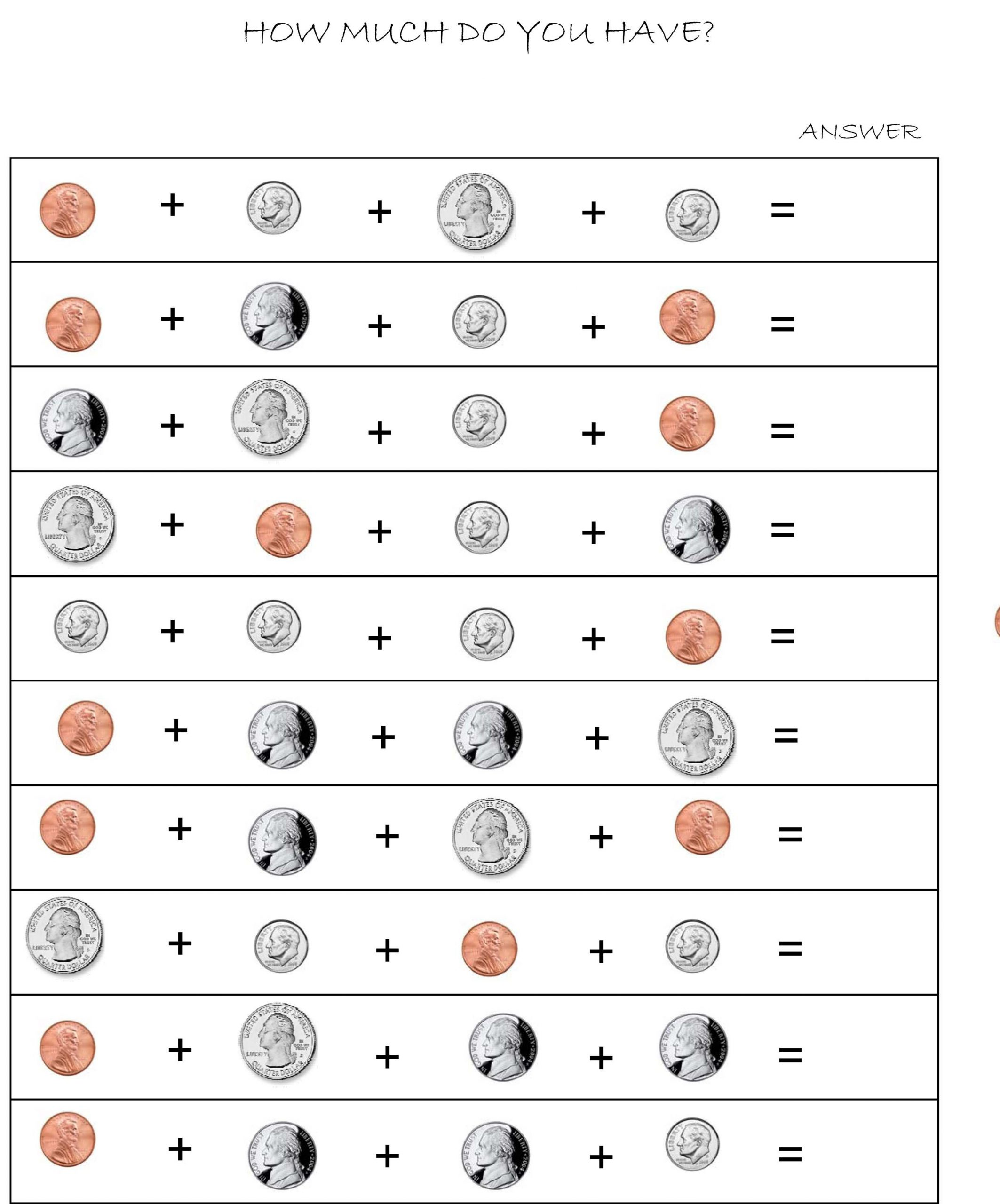 Counting Coins Worksheets First Grade First Grade Identifying Coins and their Values Lessons