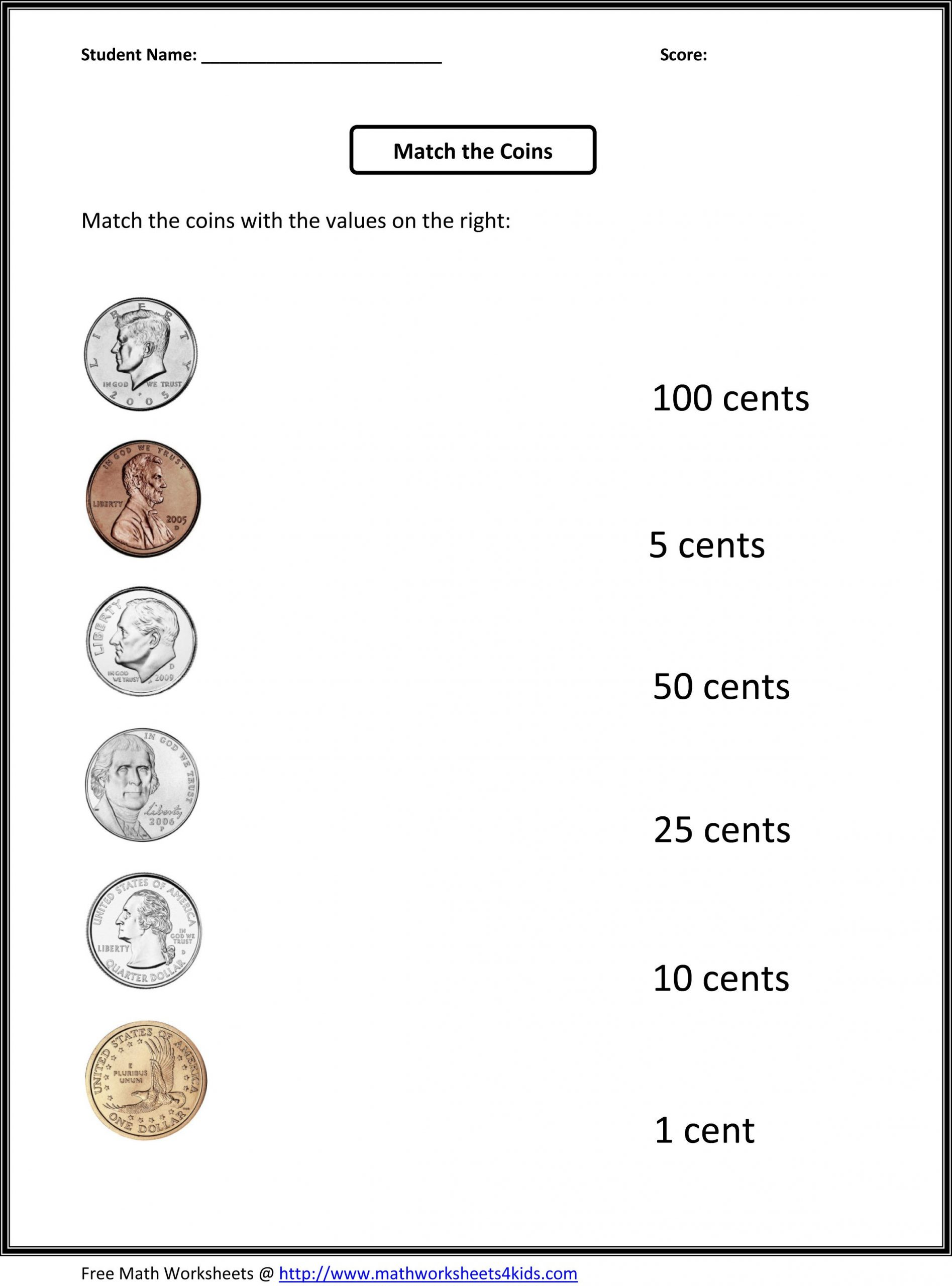 Counting Coins Worksheets First Grade First Grade Math Worksheets