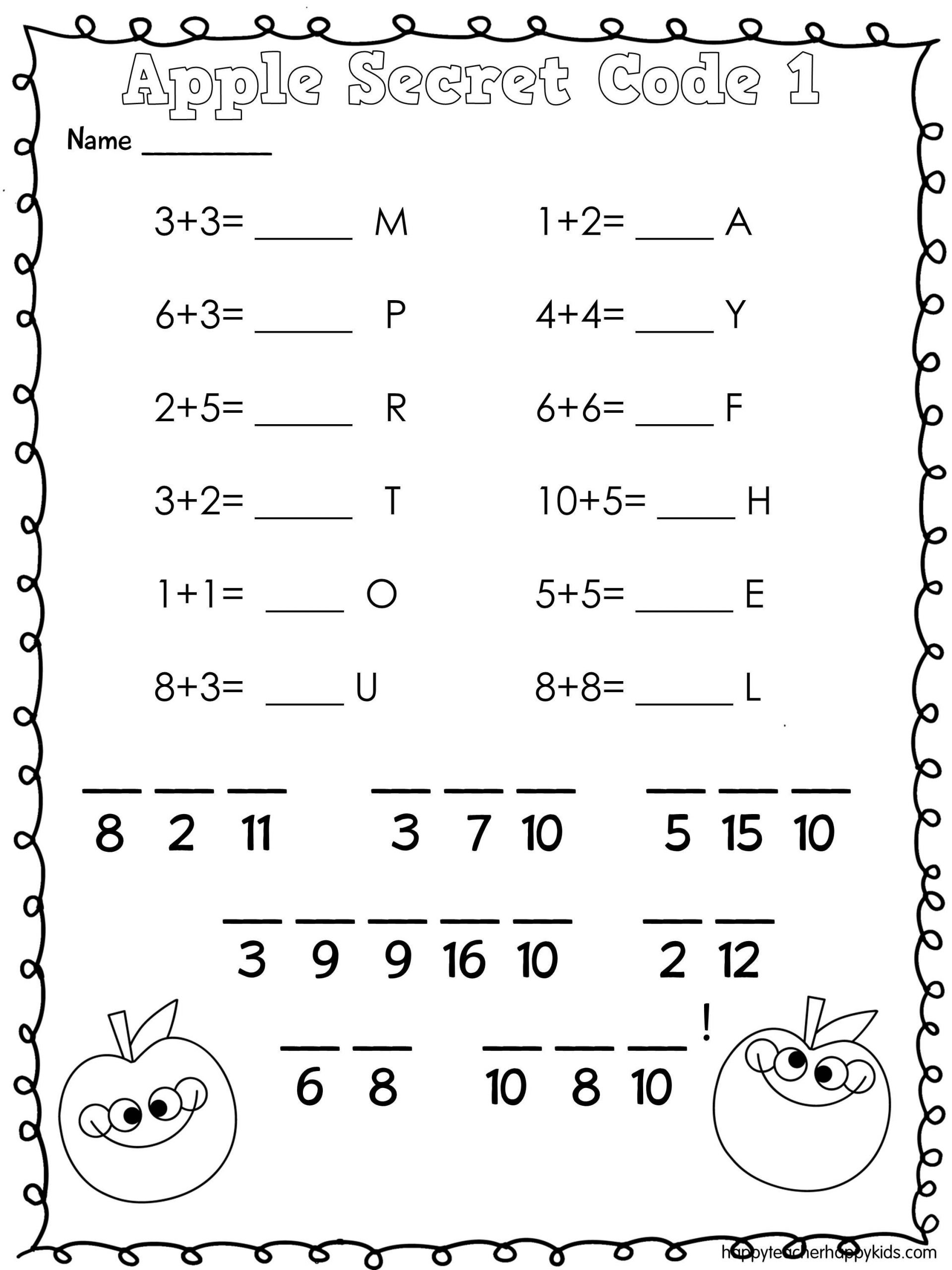 Crack the Code Math Worksheet Apple Math Secret Code Apples Firstgrade Kindergarten