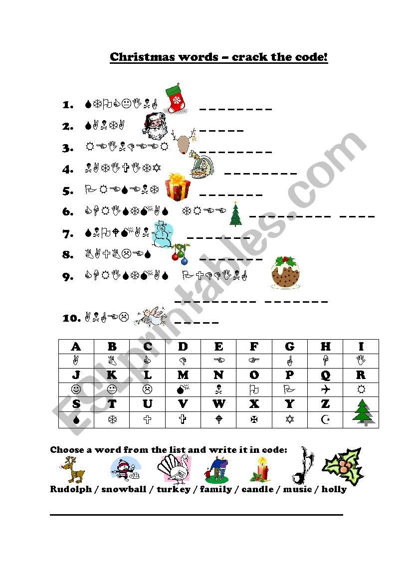 "Crack the Code Worksheets Printable Christmas ""crack the Code"" Esl Worksheet by Frausue"