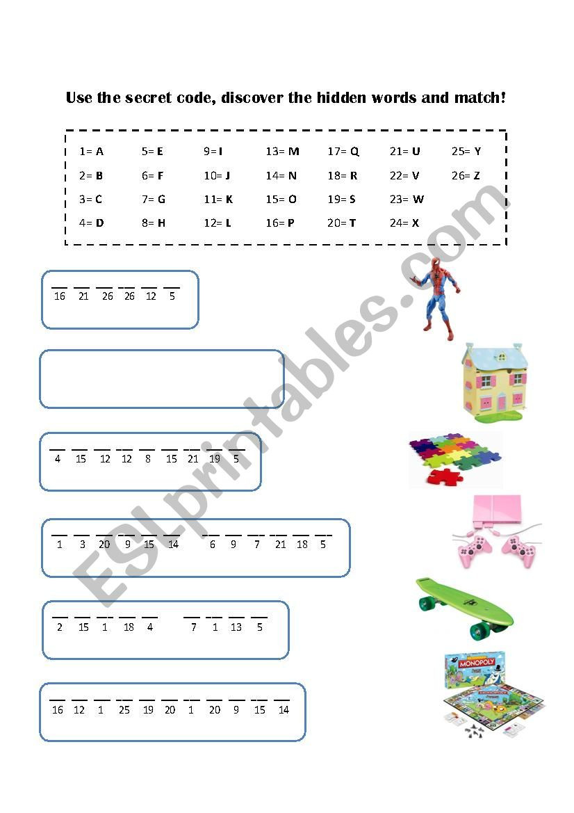 Crack the Code Worksheets Printable Crack the Code and Plete the Names Of the toys Esl