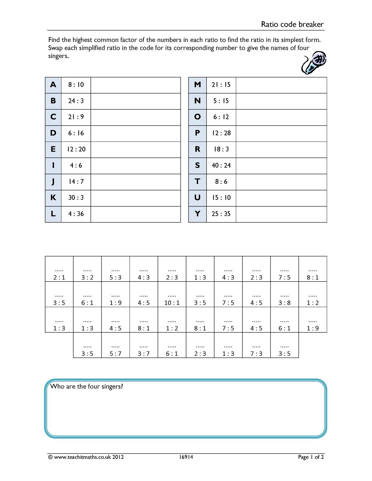 Cracking the Code Math Worksheets Ratio Code Breaker