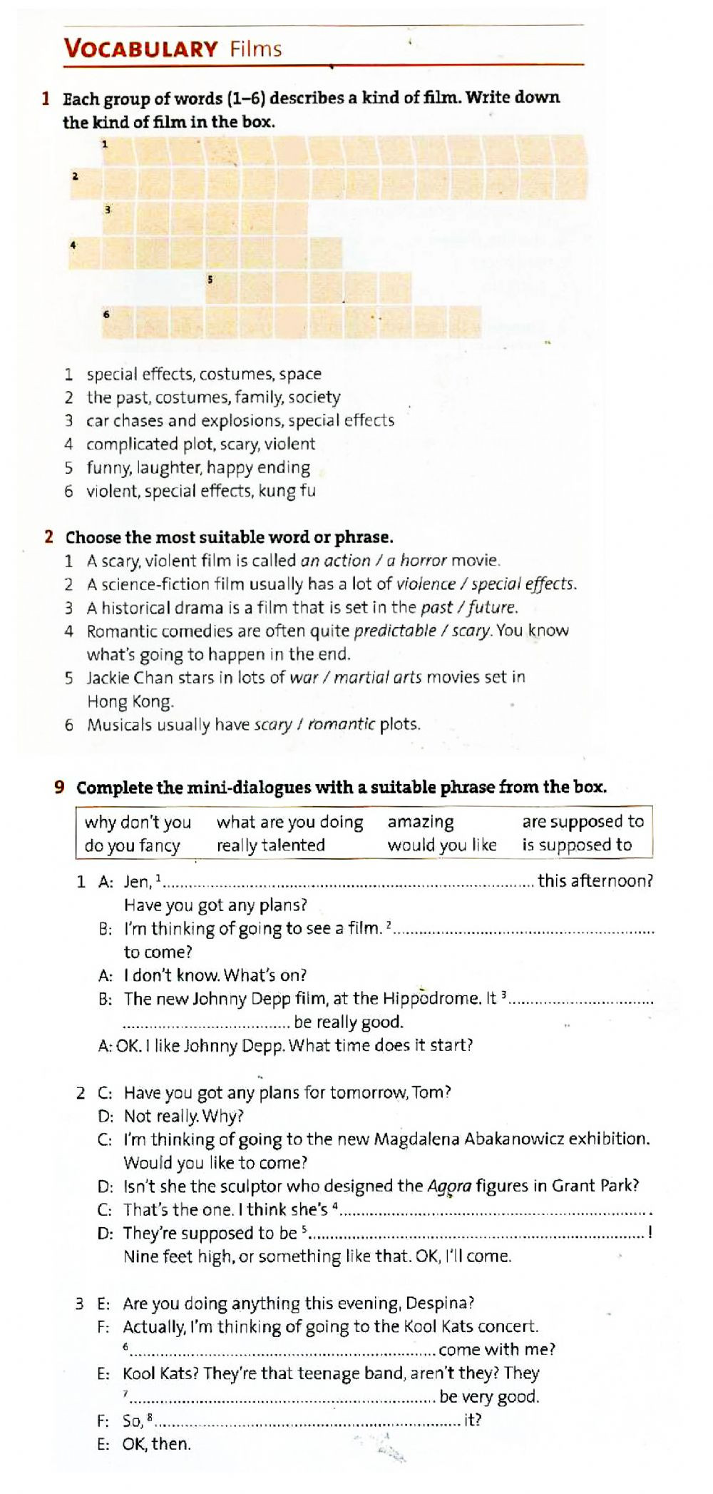Dialogue Worksheets 4th Grade Movies Vocabulary Interactive Worksheet