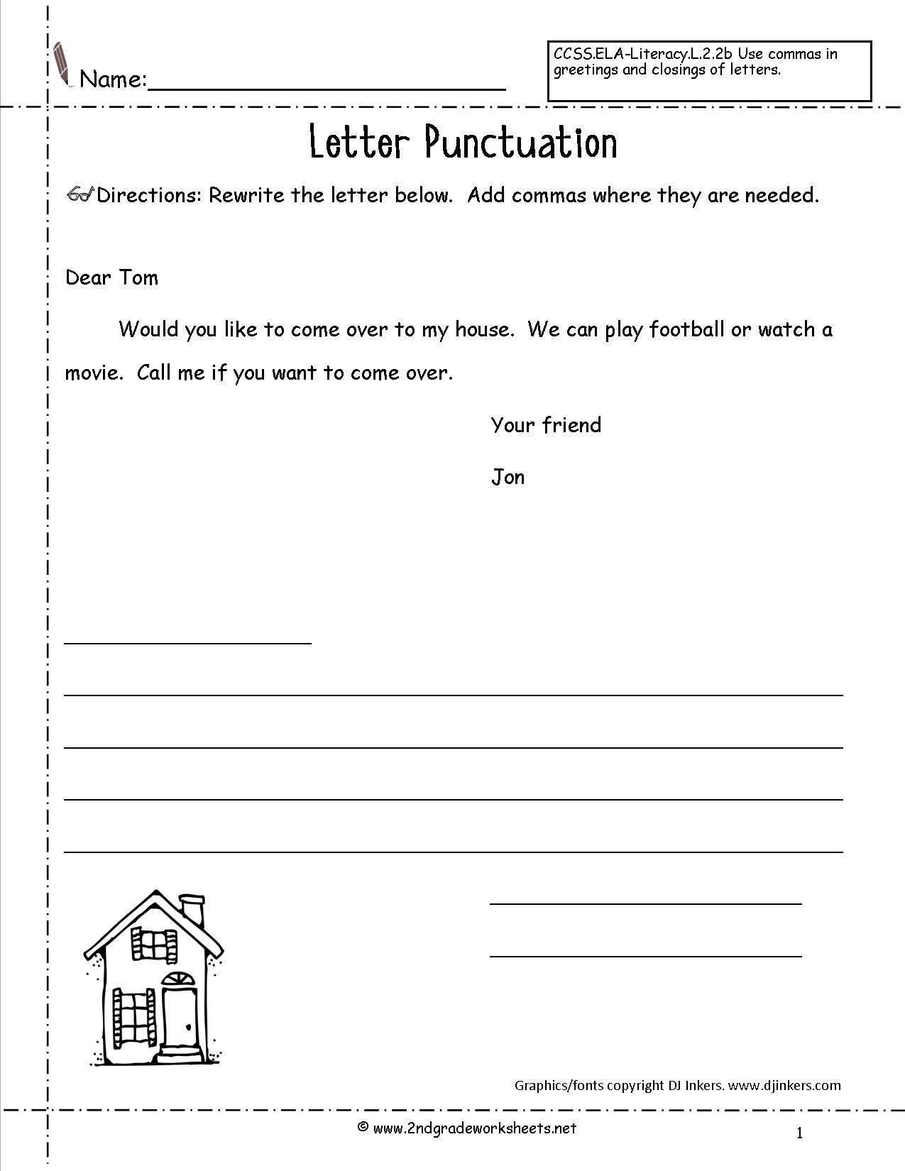 Dialogue Worksheets for Middle School Letters and Parts Of A Letter Worksheet