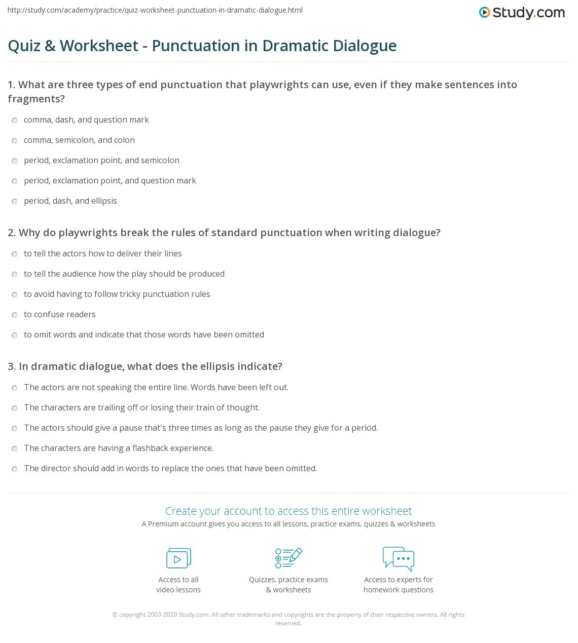 Dialogue Worksheets for Middle School Quiz & Worksheet Punctuation In Dramatic Dialogue
