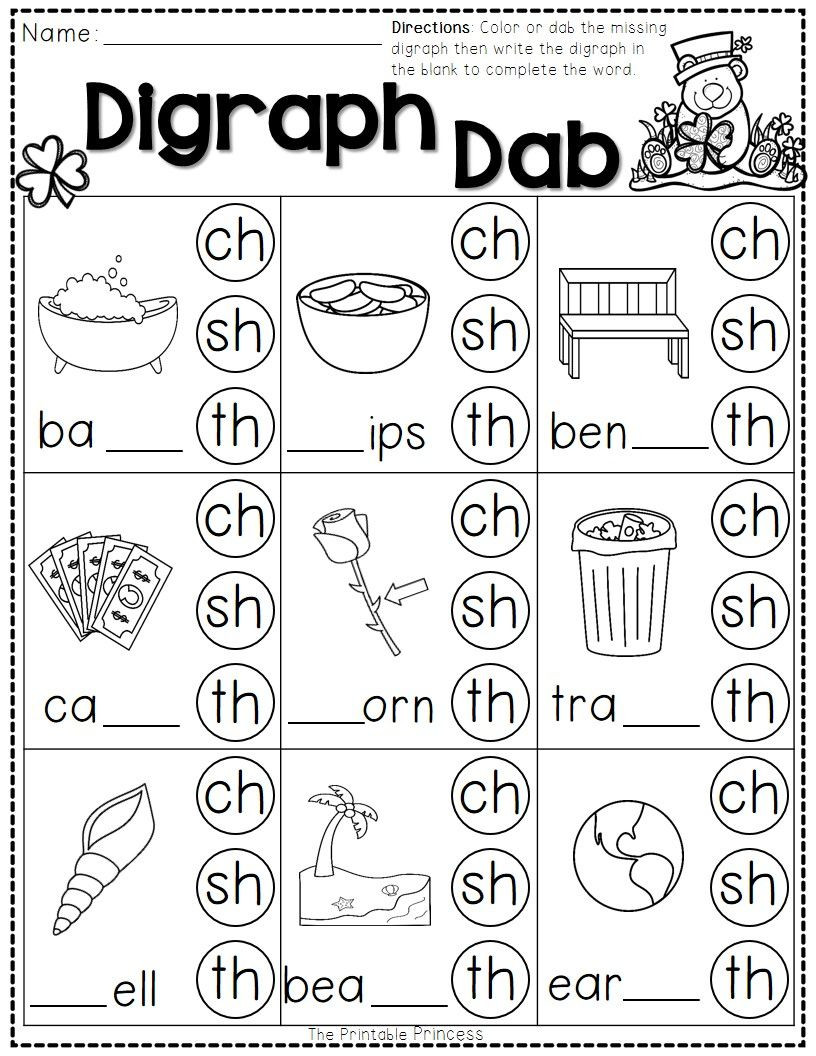 Digraph Worksheets for First Grade St Patrick S Day Math and Literacy No Prep Freebie