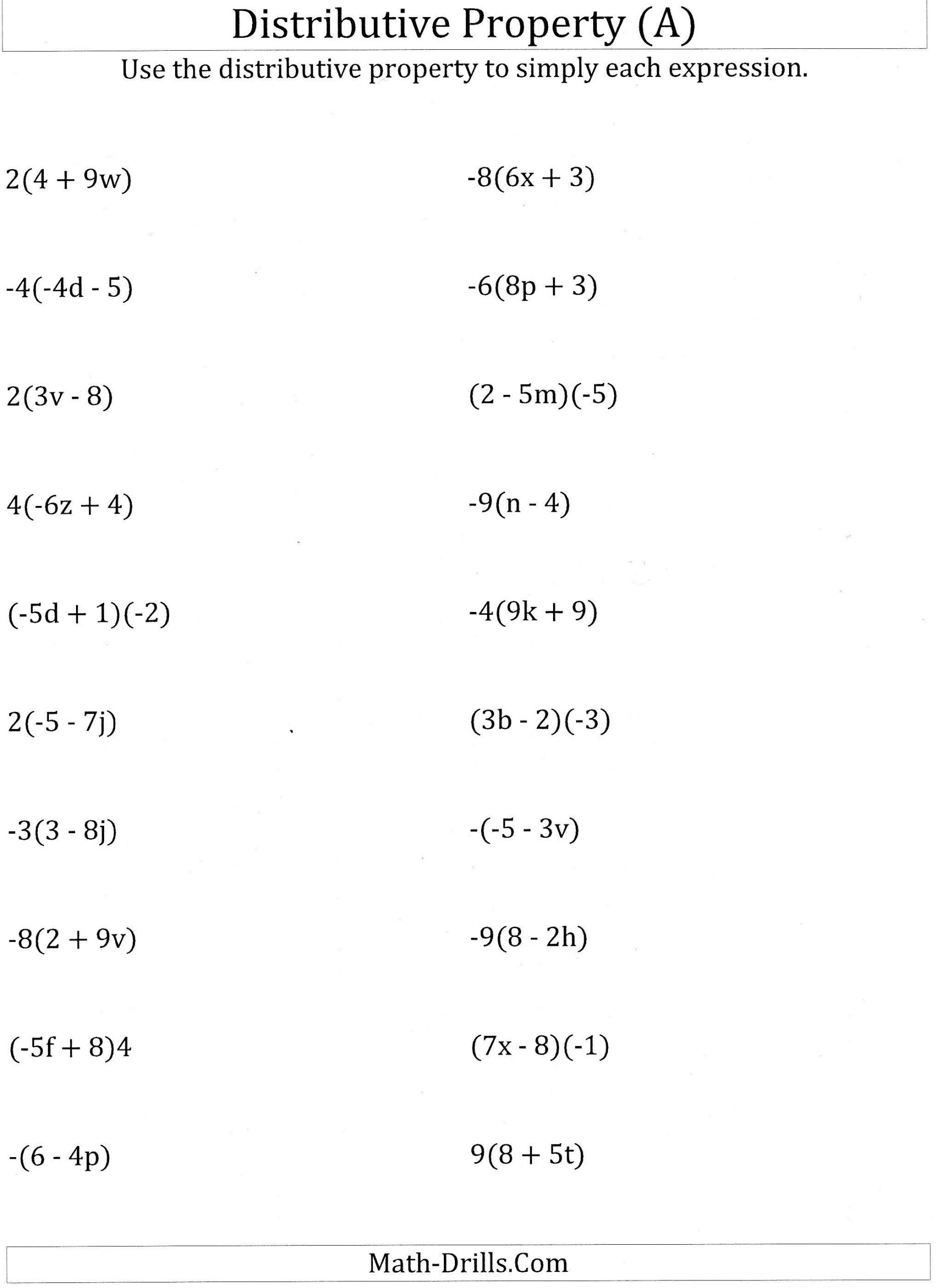 Worksheet Math Worksheets Distributive Property
