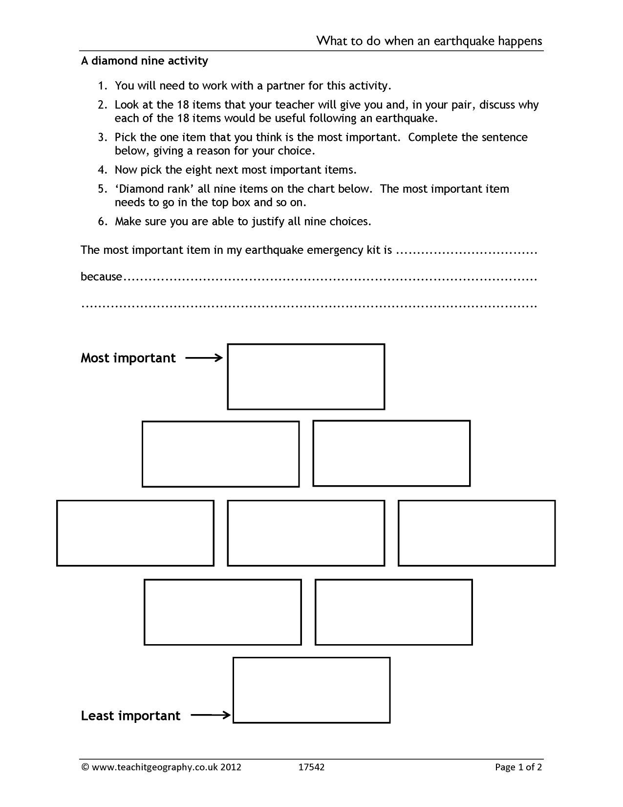 Earthquake Worksheets Middle School Causes Earthquakes Worksheet