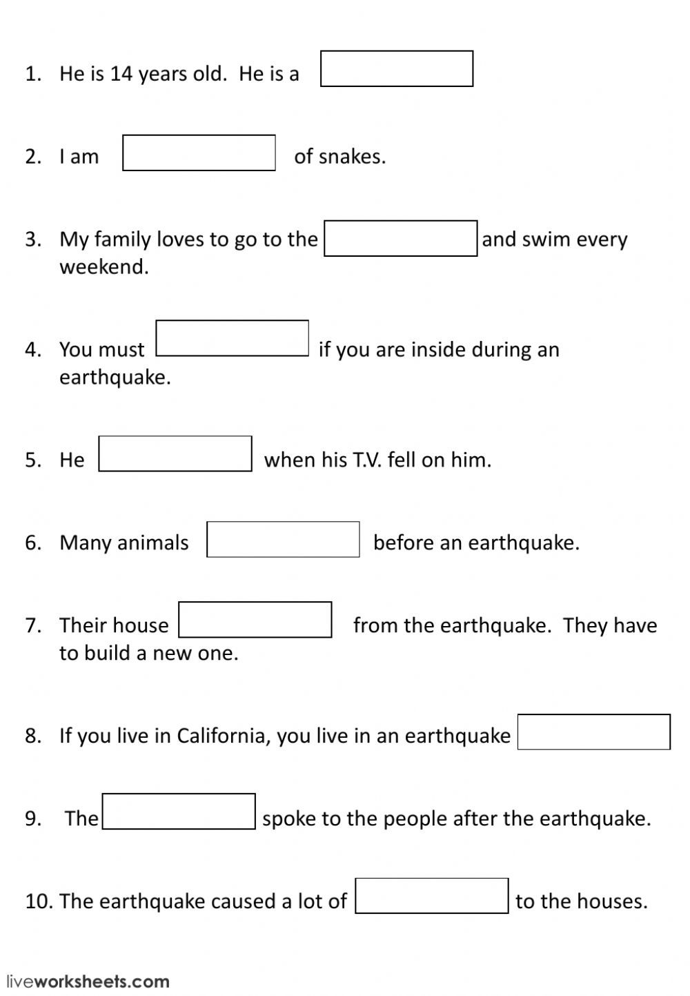 Earthquake Worksheets Middle School Natural Disaster Interactive Worksheet
