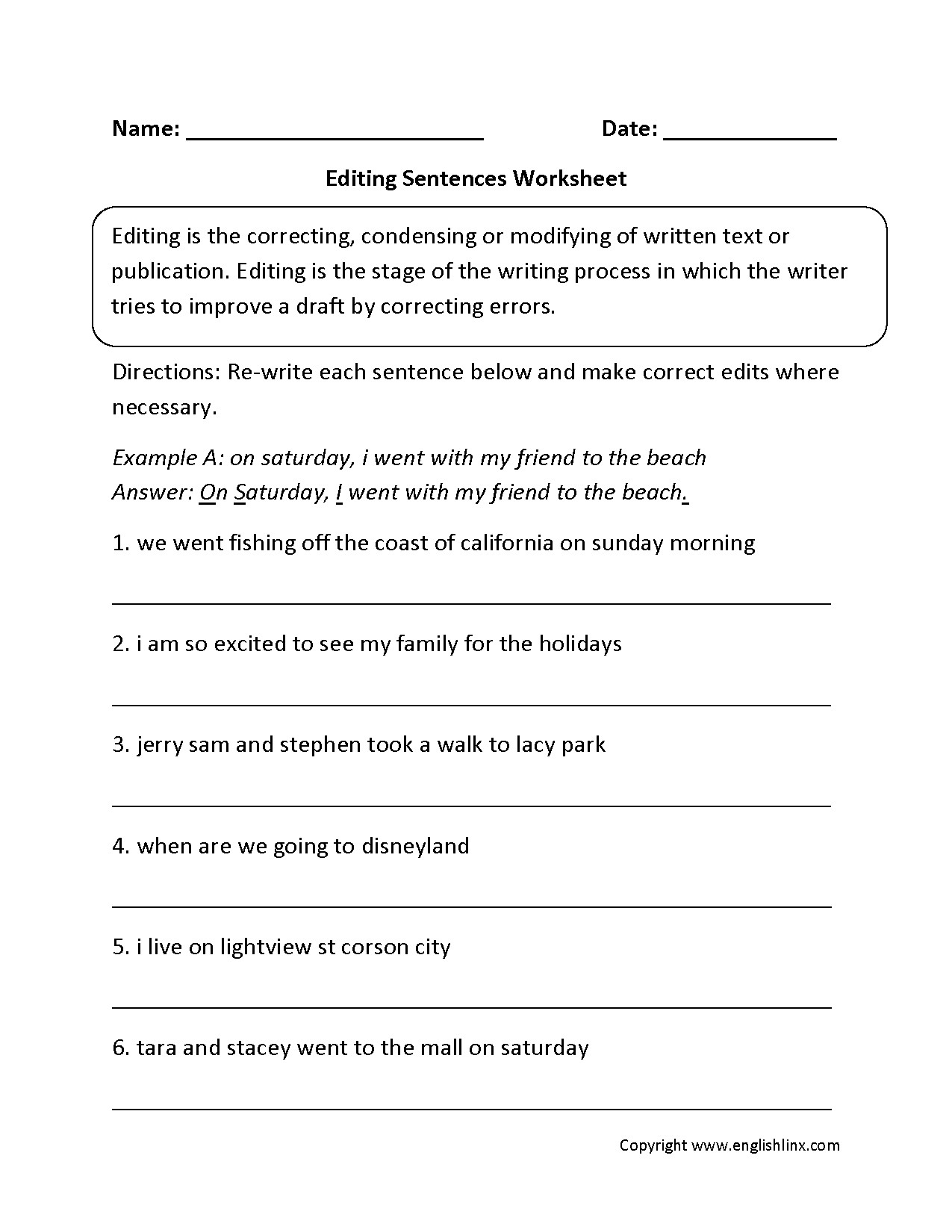 Editing Worksheet Middle School Editing Worksheet Sentece