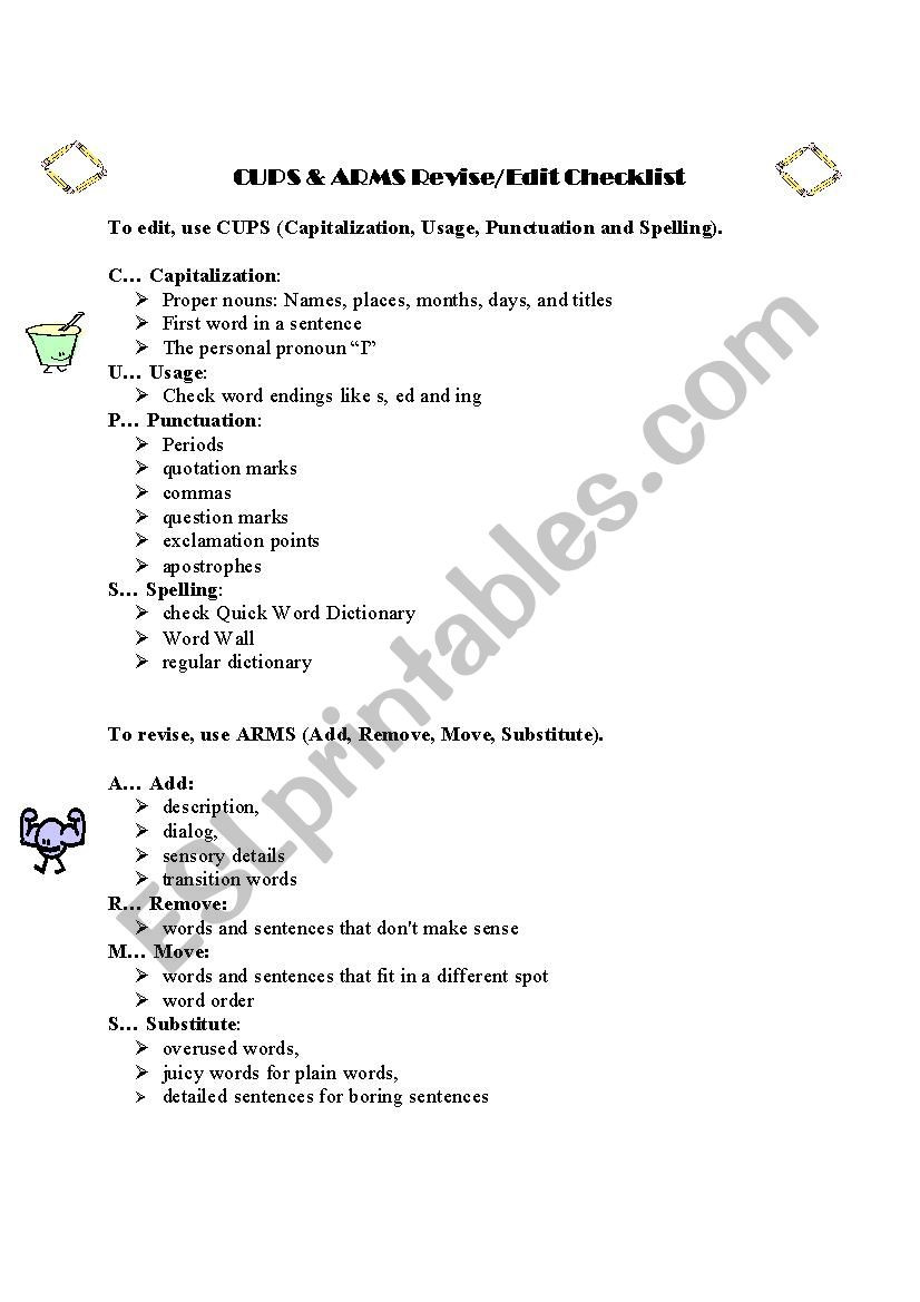 Editing Worksheet Middle School Revising Editing with Cups and Arms Esl Worksheet by Viliya