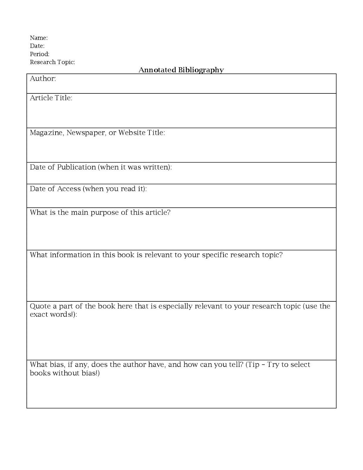 Editing Worksheets for High School Annotated Bibliography Worksheet