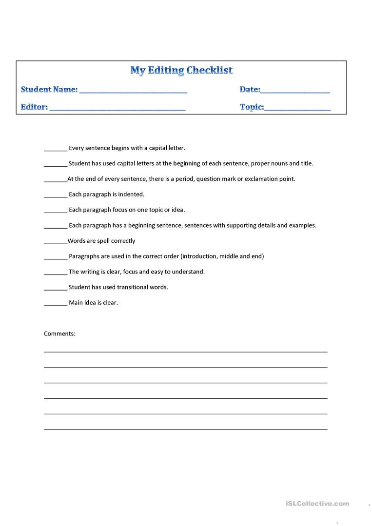 Editing Worksheets High School Editing Checklist English Esl Worksheets for Distance