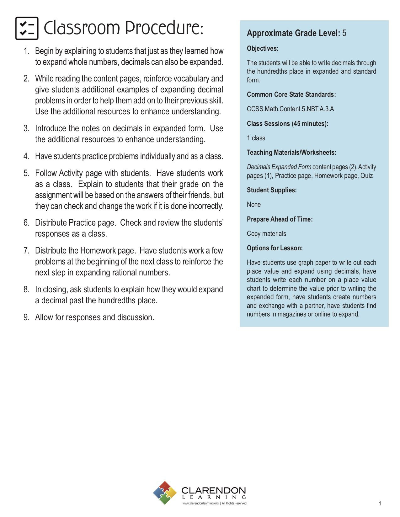 Expanded form Worksheets 5th Grade Decimals Expanded form Lesson Plan