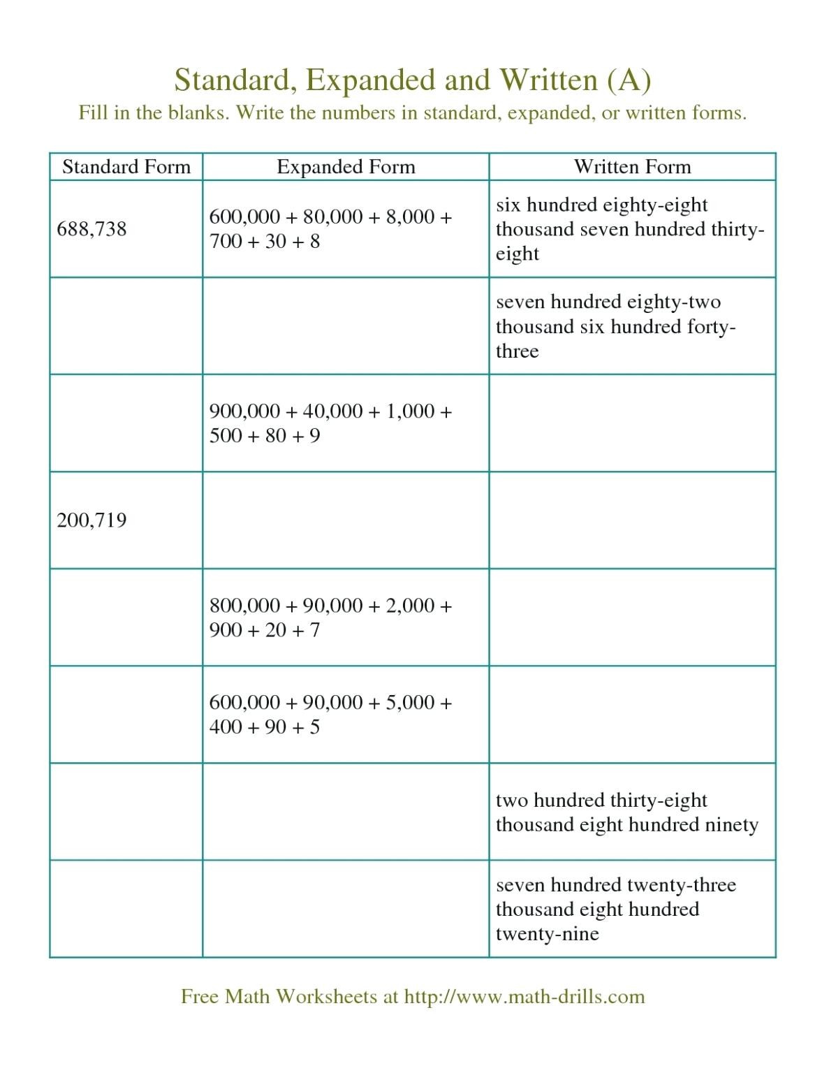 Expanded form Worksheets 5th Grade Place Value Worksheets 5th Grade for Educations Place Value