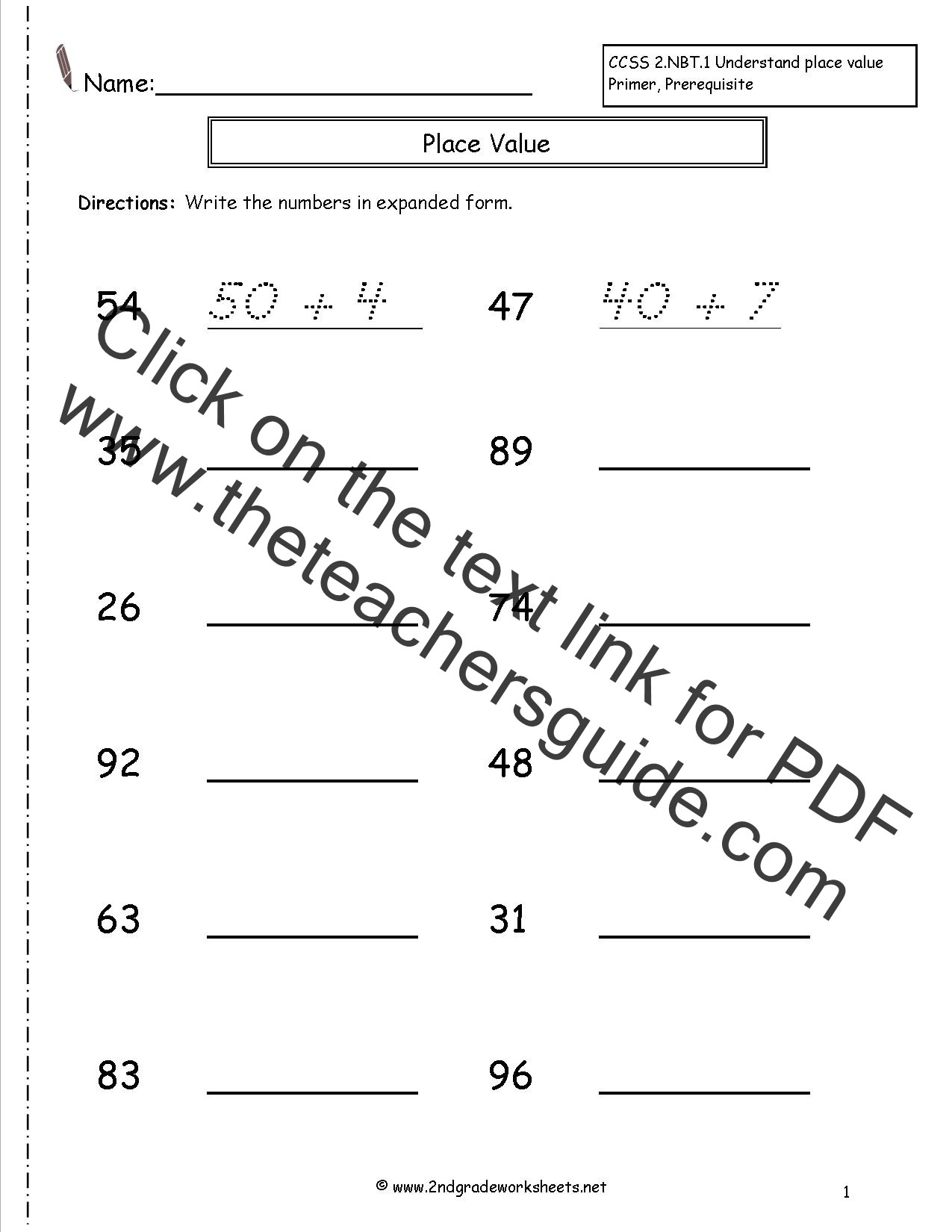 Expanded form Worksheets Second Grade Expanded form Lessons Tes Teach