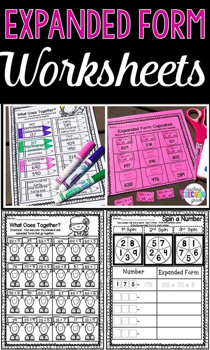 Expanded form Worksheets Second Grade Expanded form