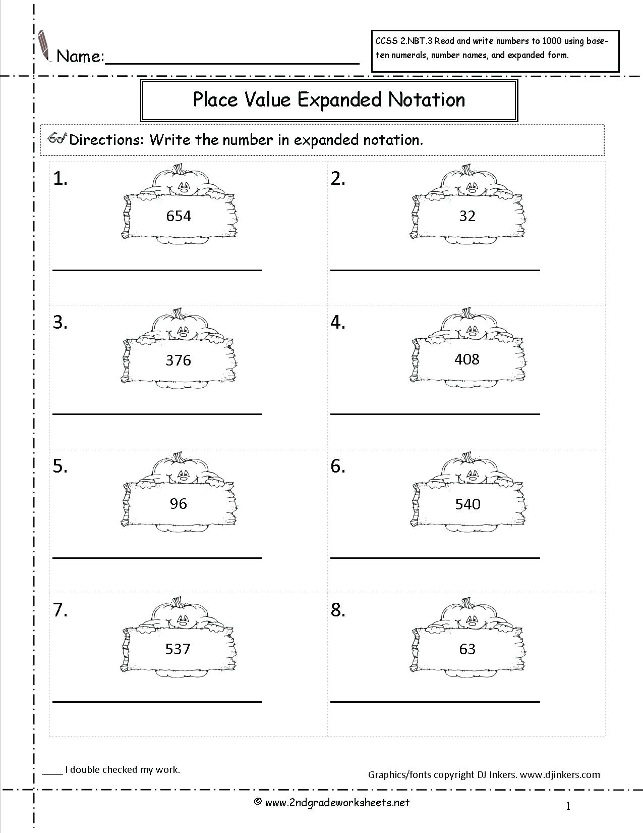 Expanded form Worksheets Second Grade Expanded form Worksheets with Answers