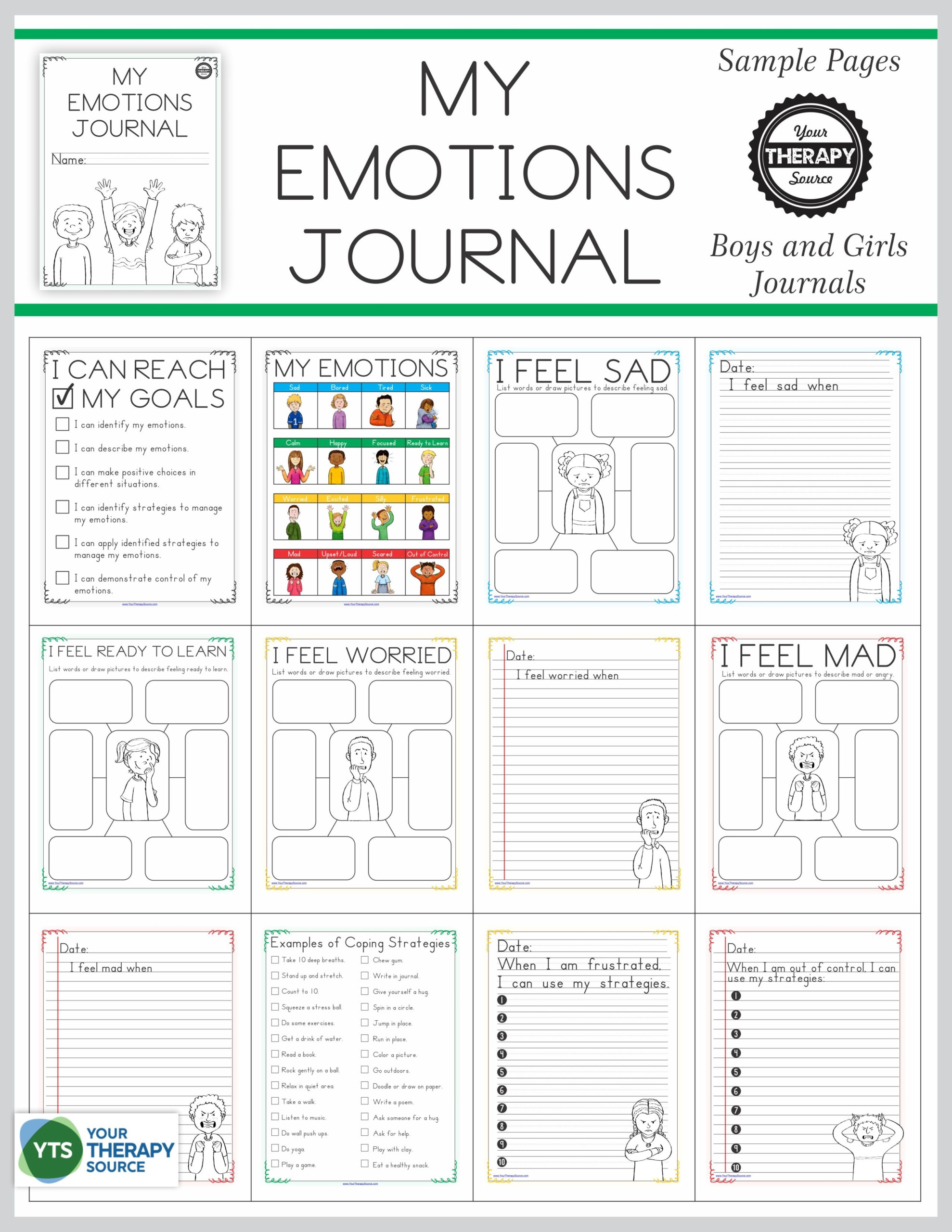 Feelings and Emotions Worksheets Printable Emotional Regulation Worksheets for Boys and Girls